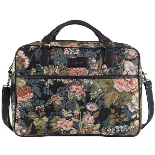 Borsa briefcase donna di Signare in tessuto stile arazzo alla moda, 15,6 pollici Peonia