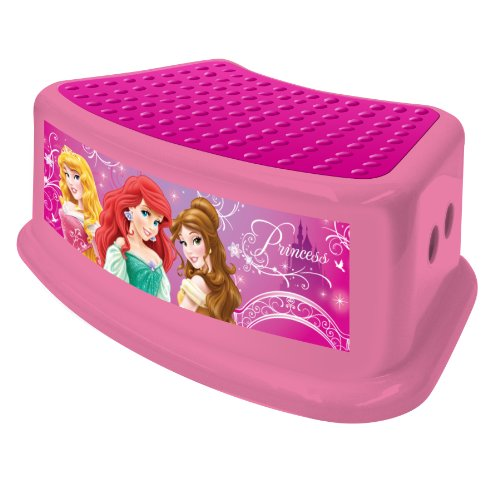 Disney Princess Step Stool, Pink, Princess Characters , Safe Step, Solid & Sturdy Base, Full Base, Rubber Non-slip stepping surface, Large rubber feet hold the step stool firmly in place, Holds Upto 200 Lbs., Rounded corners - 1