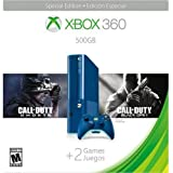 Xbox 360 500GB Special Edition Blue Console Bundle with Call of Duty Ghosts (Disc) and Call of Duty Black Ops 2 (Code)