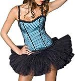 ToBeInStyle Women's Polka Dot Lace Strap Corset w/ Boning & Tutu