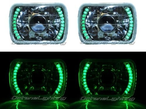 Octane Lighting 7X6 Green Led Halo Projector Halogen Crystal Headlights Angel Eye Light H4 Bulbs front-933112