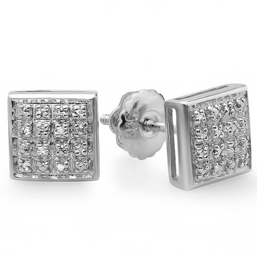 0.15 Carat (ctw) Platinum Plated Sterling Silver Real Diamond Square Shape Mens Ladies Hip Hop 7.5 mm Iced Stud Earrings