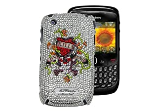 Ed Hardy Crystal Faceplate for BlackBerry Curve 8520 - Love Kills Slowly - White