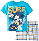 Disney Baby-Boys Infant Mickey Plaid with Tee Short Set, Blue, 12 Months