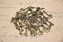 W Fashion shop Antique vintage style Love keys 50pcs