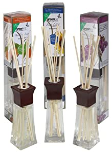 Greenair All Natural  Reed Diffuser Set of 3, Fresh Linen, Mandarin and Sweet Pea, 6.6-Ounce
