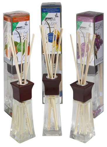 Greenair All Natural Reed Diffuser Set Of 3, Fresh Linen, Mandarin And Sweet Pea, 6.6-Ounce front-152085