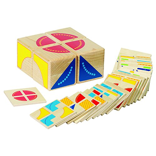 Goki - Kubus, juego de puzzle de madera, 4 cubos y 26 fichas (Gollnest & Kiesel 58649.0)