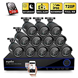 [720P-AHD] Sannce New 16CH 720P Security DVR Recorder + 2TB Hard Drive with 12pcs 1280*720 Hi-Resolution CCTV Bullet Cameras ( IP66 Weatherproof Metal Housing, Superior Night Vision)