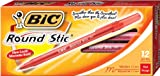 BIC Round Stic Xtra Life Ball Pen, Medium Point (1.0 mm), Red, 12-Count