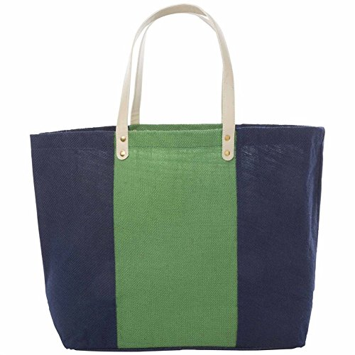 Mud Pie Color Block Jute Tote, Navy (Mud Pie Leather Tote compare prices)