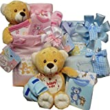 Sweet Baby Diaper Bag Gift Basket with Teddy Bear, Pink Girl or Boy Blue