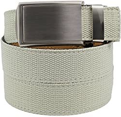 SlideBelts Men's Canvas Belt without Holes - Silver Buckle / Ivory Canvas (Trim-to-fit: Up to 48