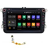 Joying 8 Inch Quad Core 1024x600 Resolution Double 2 Din in Dash for Vw Volkswagen Polo Golf Passat B5 B6 B7 Jetta Tiguan Touran Amark Sharan Caddy Bora Eos Cc Scirocco Skoda Octavia Superb Rapid Yeti Fabia,android 4.4 Kitkat Car DVD Player GPS Navigation Stereo Head Unit Radio, Hd Capacitive Touch Screen Support Steering Wheel/bluetooth/sd/usb/parking Sensor/fm/am Radio/obd2/dvr/3g/av-in/1080p ,Free 8gb Sd Card with 2015 Newest Map