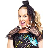 Fun World Retro 80s Pop Star Costume Lace Gloves Earrings Accessory Kit