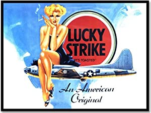 Lucky Strike Cigarettes Vintage Advertisment / Advert Metal Plaque - A brilliant quality LARGE steel metal sign that is designed for inside use. The perfect lasting and retro alternative to a flimsy poster or art print.