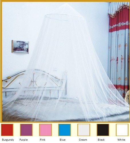 White Hoop Bed Canopy Mosquito Net Fit Crib, Twin, Full, Queen, King