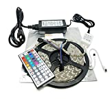 Nubee® 16.4ft 5M RGB SMD 5050 Waterproof Strip light 300LEDs + 44Key IR Remote Controller + 12V 5A Power Supply