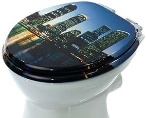 Skyline 3D Lunette de WC avec Soft/silent-close MDF