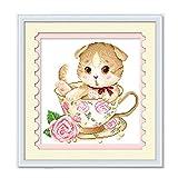 Spakeno 可愛いネコ柄 クロスステッチ刺繍図案 AK1012 [並行輸入品]