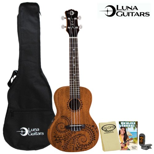 Luna Guitars Tattoo Concert Electric Ukulele With Preamp (Uke-Tec-Mah) - Includes: Gig Bag, Tuner, Godpsmusic Cleaning Cloth & Godpsmusic Instruction Guide
