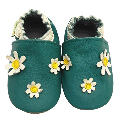 Sayoyo Baby Daisy Soft Sole Leather Infant Toddler Prewalker Shoes (18-24 months, Green)