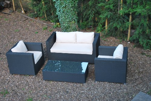Deluxe 4pc Rattan Conservatory Garden Furniture Sofa Set - Fully Assembled