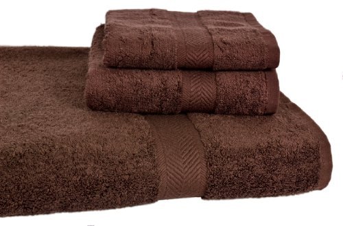 Calcot All American Cotton Line 100-Percent Supima Bath Towel Set, Coffee Bean, 3-Piece