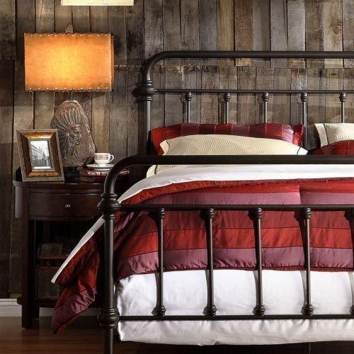 Antique Finish Dark Bronze Queen Size Metal Bed This