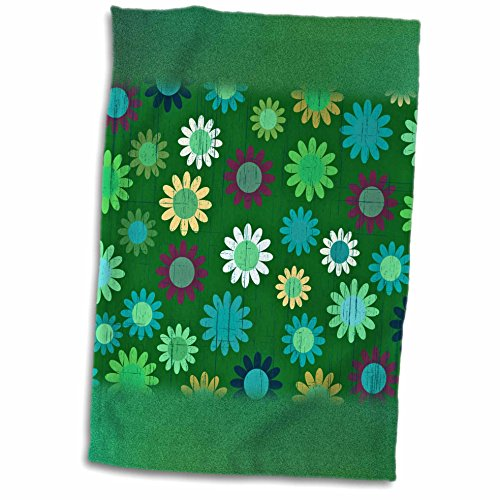 Anne Marie Baugh Patterns - Cute Green and Purple Sixties Flowers On A Grunge Background - 11x17 Towel (60s Background)
