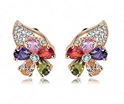 Shringaar Antique Collection Multicolor 18K Gold Plated Flower Crystal Earring For girls women