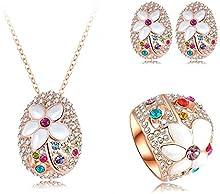 Comprar AnaZoz Joyería de Moda Juego de Flor 18K Chapado en Oro Rosa Cristal Colgante Collar/Pendiente/Anillo