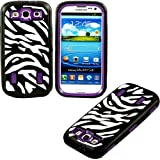 myLife Black and Deep Plum Purple - Zebra Stripe Print Armor Series (3 Piece Neo Hybrid Flexi Case + Urban Body Armor Glove) Case for Samsung Galaxy S3 GT-i9300 and GT-i9305 Touch Phone (Thick Silicone Outer Gel + Tough Rubberized Internal Shell)