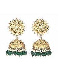 Amethyst By Rahul Popli Green Gold Plated Jhumki Earrings