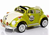 Retro Beetle Style Electric Ride On Car 6V with Parental Remote Control with Your Own Number Plate - Green