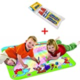 Tomy T72182 + 71841 Rainbow Aquadoodle Aquadraw Drawing Toy Mat with 2 Aquadoodle Water Pens
