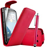 ONX3 HTC Sensation / Sensation XE PREMIUM PU Red Leather Flip Case + Red High Capacitive Stylus Pen + X3 LCD Screen Protector Guards