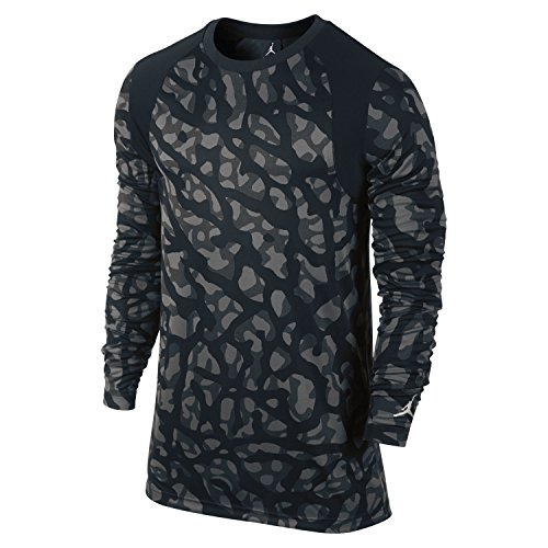 Nike Mens Air Jordan Long Sleeve T Shirt Black/Light Bone Large