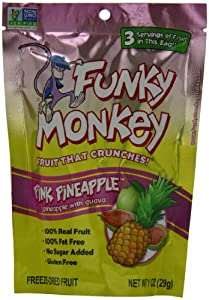 Funky Monkey Snacks Pink Pineapple, Pineapple with Guava, Freeze-Dried Fruit, 1-Ounce Bags (Pack of 12)