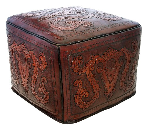 New World Trading Large Ottoman, Colonial, Antique Brown