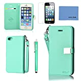 Case for iphone 5,Case for Iphone 5s, By Ailun,Wallet Case,PU Leather Case,Cut,Credit Card Holder,Flip Cover Skin,(Green),with Screen Protect and Styli Pen