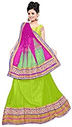 Jay Ambe Creation Women's Viscose Unstitched Lehenga Choli (dno127b, Pink & P...
