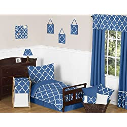 Blue and White Modern Trellis Kids Toddler Bedding 5 Piece Girl or Boy Lattice Print Set