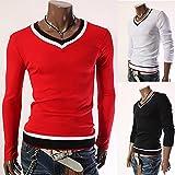 (Anotogaster) Tシャツ 長袖 カットソー 襟 裾 トリコロールカラー 青 白 赤 アクセント 3color (レッド L)