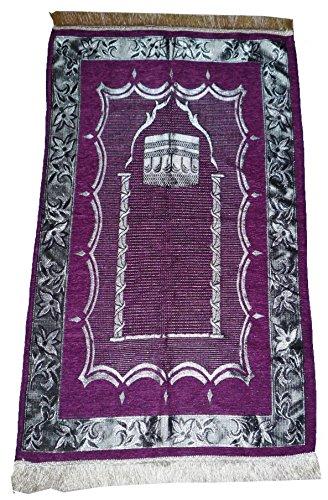 Islamic Prayer Rug Muslim Prayer Sajadah Lightweight Carpet Al Kabah - Violet