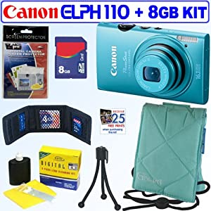 Canon PowerShot ELPH 110 HS 16.1 MP CMOS Digital Camera with 5x Optical Image Stabilized Zoom 24mm Wide-Angle Lens and 1080p Full HD Video Recording (Blue) + 8GB Accessory Kit