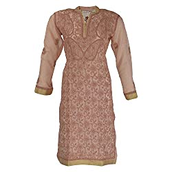 AKS Lucknow Women's Silk & Georgette Regular Fit Kurti
