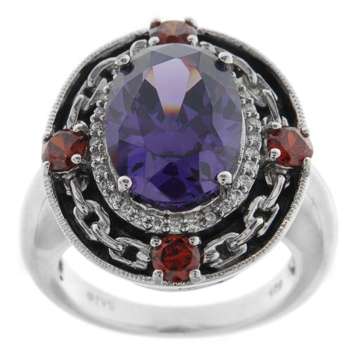 Sterling Silver Purple, Red and White Cubic Zirconia Ring, (10.97 cttw), Size 8
