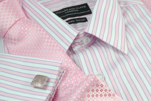 Collar and Cuffs London - High Quality 100% Cotton - Fit Guaranteed - Trafalgar Pink and White Bengal Stripe - Herringbone Weave - Non-Iron Men's Shirt - Long Sleeve - Classic Fit, Double Cuff - Striped Pattern