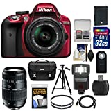 Nikon D3300 Digital SLR Camera & 18-55mm G VR DX II AF-S Zoom Lens (Red) with 70-300mm Lens + 32GB Card + Battery + Case + Filters + Flash + Tripod + Accessory Kit